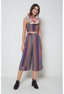 Calça Pantacourt Estampa Listras Color Feminina - Feminino-Rosa
