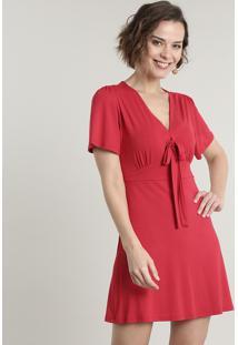 Vestido Feminino Curto Com Nó Manga Curta Vermelho
