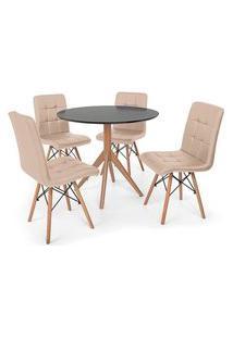 Conjunto Mesa De Jantar Maitê 80Cm Preta Com 4 Cadeiras Eiffel Gomos - Nude