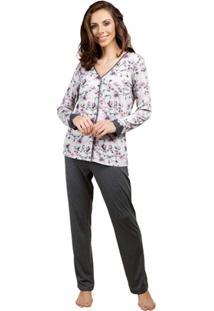 Pijama Inspirate De Inverno Aberto Feminino - Feminino-Chumbo