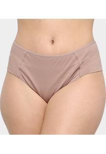 Calcinha Marcyn Alta Lateral Dupla Plus Size - Feminino-Marrom