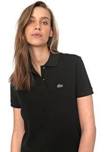 Camisa Polo Lacoste Reta Logo Preta