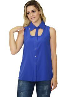 Camisa Moché Botões - Feminino-Azul Royal