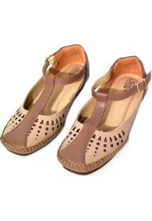 Sapato Prata Couro Conforto 1010041 Nude/Conhaque