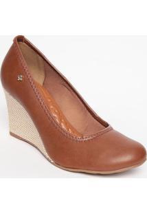 Sapato Anabela Em Couro- Marrom & Bege Claro- Salto:Cravo & Canela