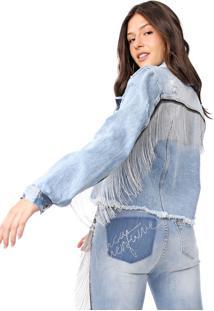 Jaqueta Jeans Lança Perfume Franjas Azul