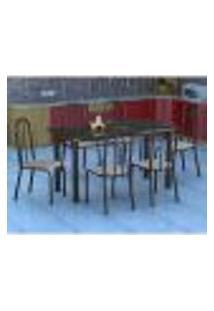 Conjunto De Mesa Granada Com 6 Cadeiras Madri Preto Listrado Gr