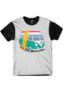 Camiseta Long Beach Kombi Sublimada Masculina - Masculino-Cinza+Preto