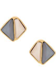 Camila Klein Par De Brincos Tapa Furo Triângulos - Dourado