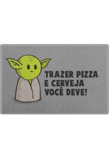 Capacho Em Vinil Drpepper Mestre Mini-Yoda Geek10 Cinza