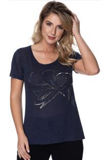 Camiseta Simone Saga Flor Bordado Azul