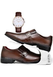 Kit Sapato Social Com Organizador E Relógio King Dubuy 806Db Marrom - Kanui