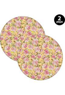 Sousplat Mdecore Floral 32X32Cm Amarelo 2Pçs