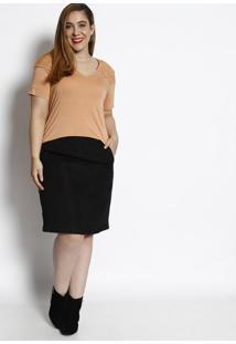Blusa Lisa Com Renda - Laranja Claro - Cotton Colorscotton Colors Extra