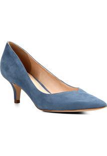 Scarpin Couro Shoestock Salto Médio Bico Fino - Feminino-Azul Escuro