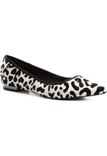 Sapatilha Couro Shoestock Bico Fino Wild Cat Feminina - Feminino-Branco+Preto