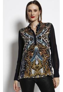 Blusa Alongada De Penas - Preta & Bege- Cotton Colorcotton Colors Extra