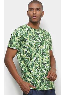 Camiseta Colcci Folhagem Masculina - Masculino-Verde+Branco