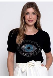 Blusa Bisô Olho Grego Feminina - Feminino-Preto