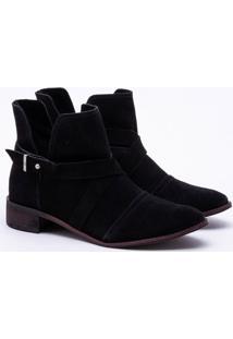 Ankle Boot Camurça Preta