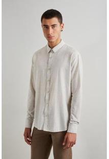 Camiseta Reserva Linho Masculino - Masculino-Off White