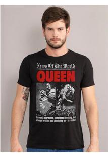 Camiseta Masculina Queen News Of The World - Masculino-Preto