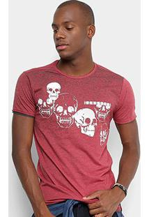 Camiseta Gangster Caveiras Masculina - Masculino-Vinho