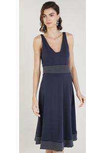 Vestido Feminino Evasê Com Pespontos Decote V Azul Marinho