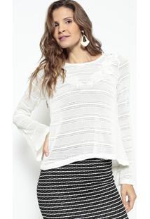 Blusa Texturizada Com Vazados - Off White - Lanã§A Pelanã§A Perfume