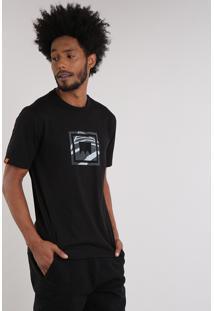 Camiseta Masculina Lab Manga Curta Gola Careca Preta