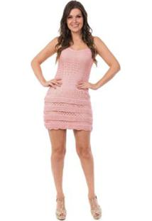 Vestido Pink Tricot Curto Renda Babados - Feminino-Rosa Claro