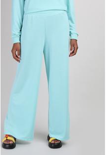 Calça De Moletom Feminina Pantalona Cintura Média Cós Com Elástico Azul Claro