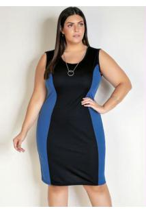 Vestido Midi Preto E Azul Com Recorte Plus Size