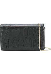Love Moschino Crocodile-Effect Crossbody Bag - Preto