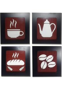 Kit 4 Quadros Decorativos Para Cozinha E Restaurante Fabricado Em Mdf Com Relevo 33X30Cm