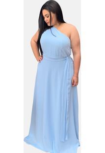 Vestido De Festa Simples Plus Size Azul Serenity