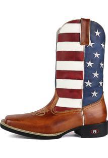 Bota Country Texana Sapatofran Bico Quadrado Estados Unidos Branca