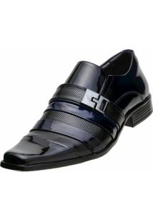 Sapato Social Gofer Verniz - Masculino-Azul