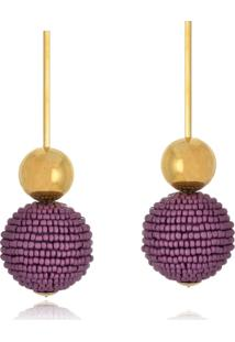 Brinco Le Diamond Pendulo Com Esferas Lilã¡S - Dourado - Feminino - Dafiti