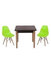 Conjunto Mesa De Jantar Luiza 80Cm Preta Com 2 Cadeiras Eames Eiffel - Verde