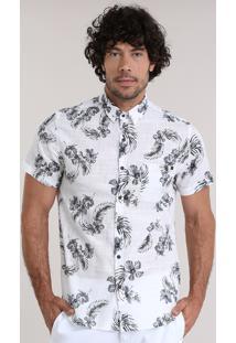 Camisa Estampada Floral Off White