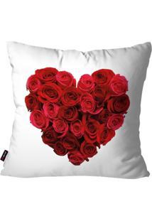 Capa De Almofada Pump Up Decorativa Avulsa Branco Coração De Rosas 45X45Cm