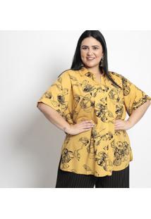 Camisa Floral- Amarela & Preta- Pianetapianeta
