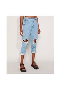 Calça Jeans Feminina Sawary Baggy Cintura Alta Destroyed Com Faixa Para Amarrar Azul Claro