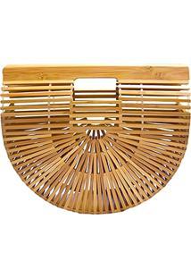 Bolsa De Madeira Artestore Bambu Design Vazado Similar A Cult Gaia Grande Caramelo