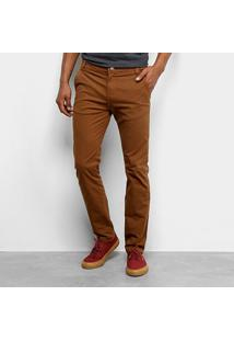 Calça Sarja Skinny Tbt Jeans Collor Masculina - Masculino-Caramelo