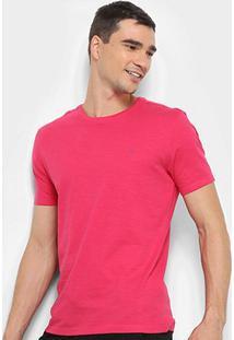 Camiseta Calvin Klein Slim Careca Flame Masculina - Masculino-Rosa Escuro