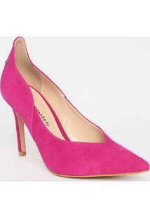 Scarpin Em Couro Com Recorte - Pink- Salto: 9,5Cmcapodarte