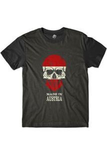 Camiseta Bsc Caveira País Austria Sublimada Masculina - Masculino-Preto