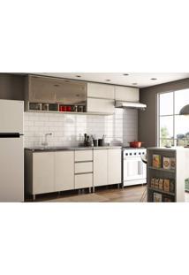 Cozinha Compacta 5 Peças 8 Portas 3 Gavetas Anita Siena Móveis Legno Crema/Linho
